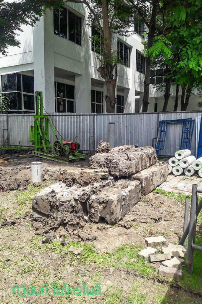 งานตอกเสาเข็มไมโครไพล์ ต่อเติมพื้นที่หน่วยงาน กองบัญชาการกองทัพไทย